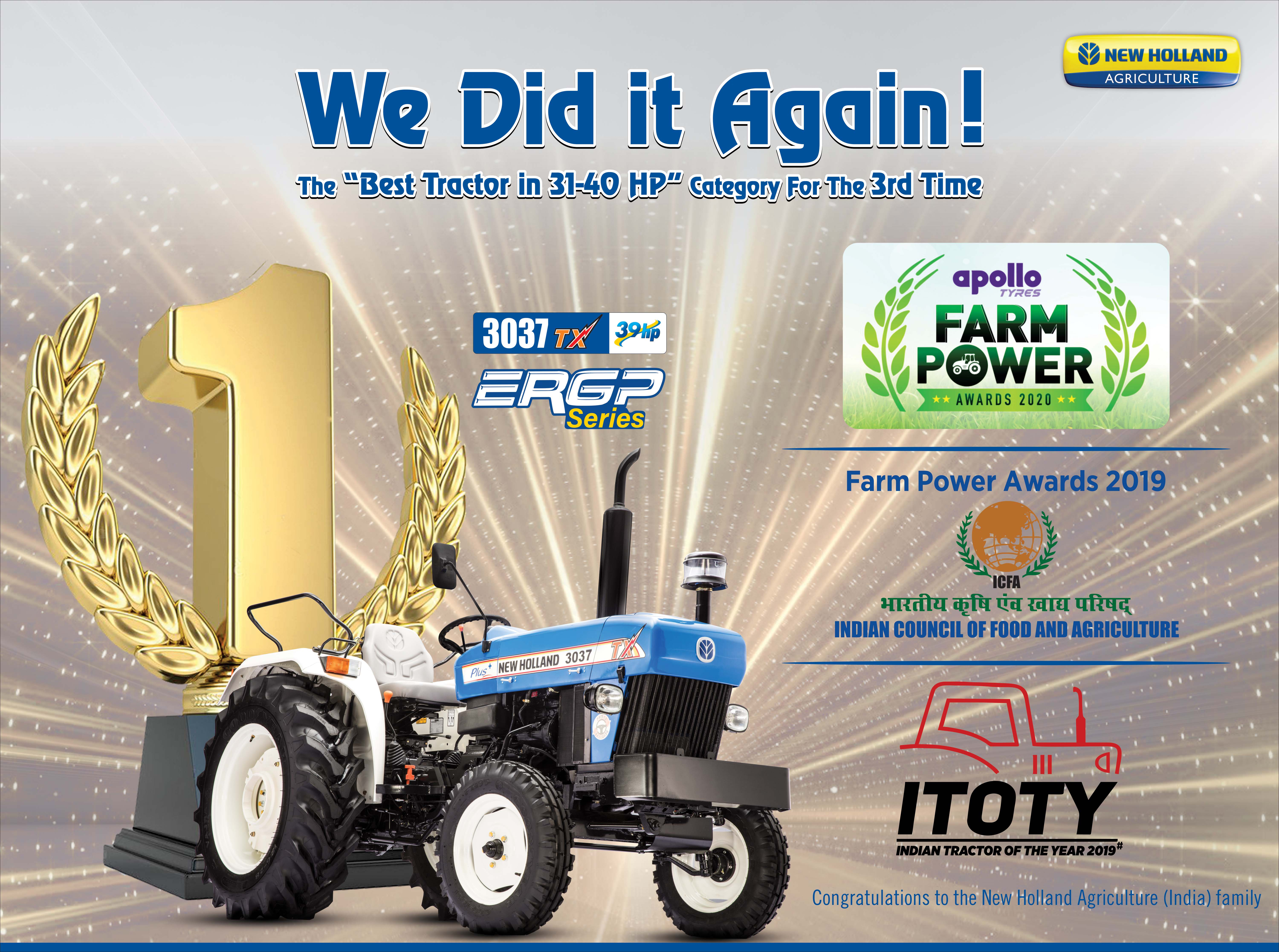 New Holland Agriculture- Wins Award for Best Tractor in Category and Best CSR Activity