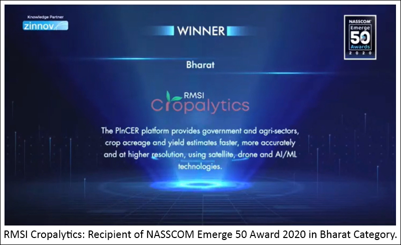 RMSI Cropalytics earns recognition at NASSCOM Emerge 50 Award 2020