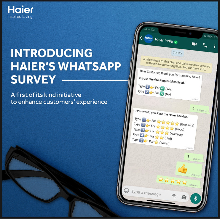Haier's first service initiative for customer feedback experience by WhatsApp survey