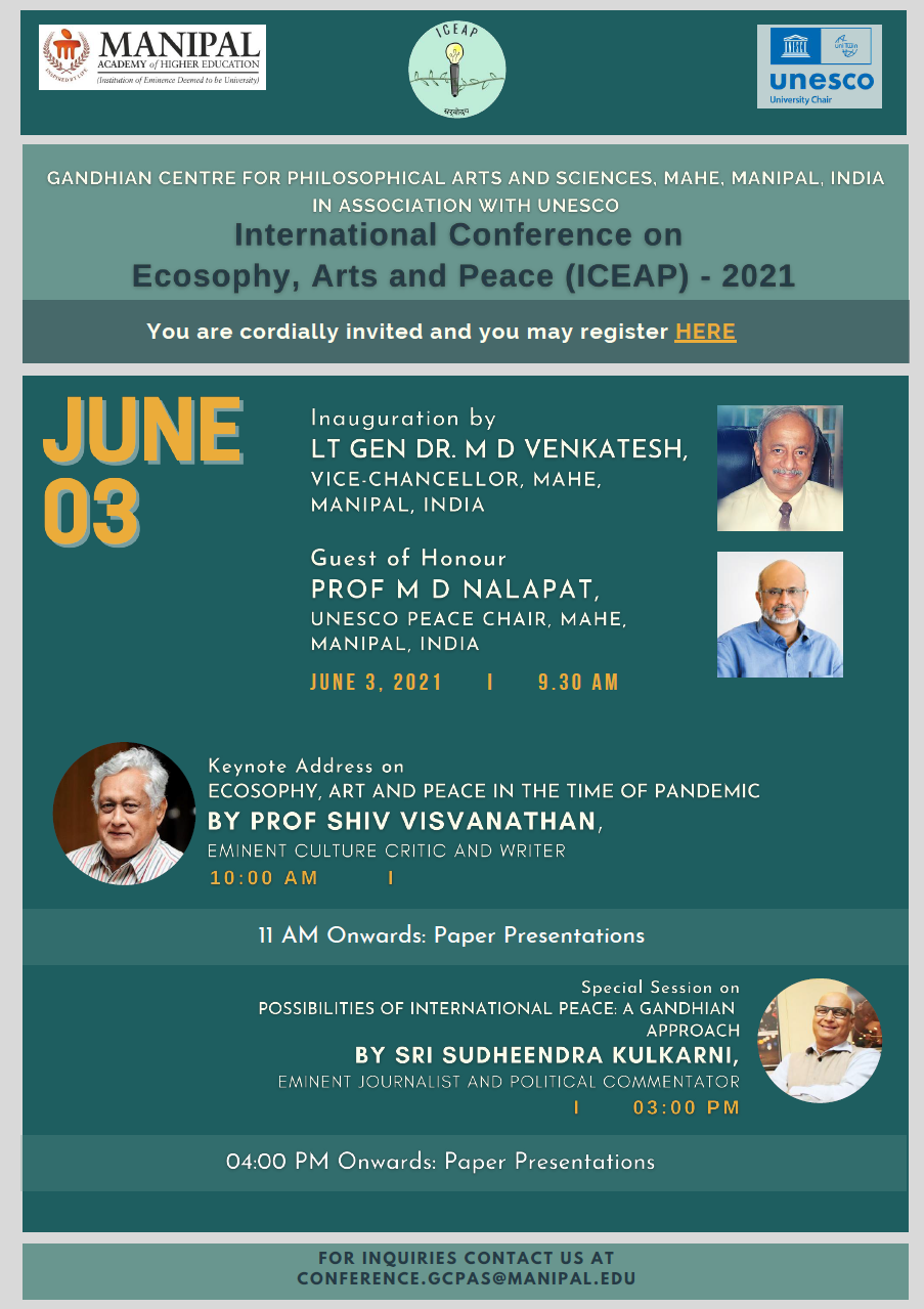"""Manipal Academy of Higher Education conducts two days online conference """"Ecosophy"""" from 3 rd to 4 th June"""