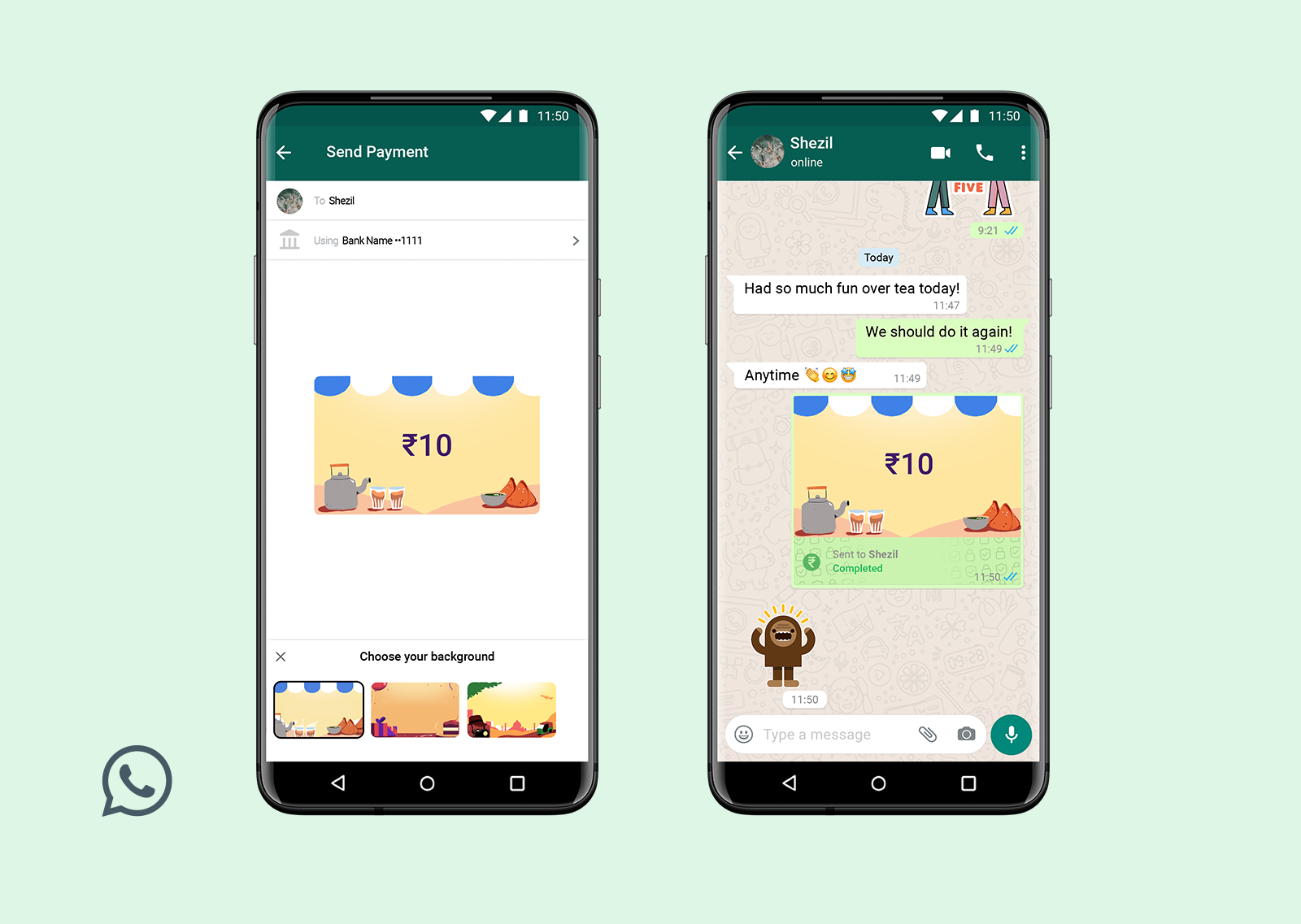 Sending money through WhatsApp gets livelier now with Payments Backgrounds